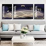 WANGXINQUAN Painting The Living Room 5D Diamond House Hotel Home Wall Artes Decorativas Marco Negro 3pcs / Set