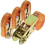 PrimeMatik - Correa de sujeción con trinquete 25 mm x 2.5 m 800 kg Naranja (Pack 4)