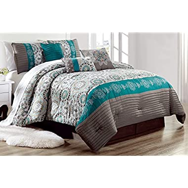 Luxury 7 Piece Bedding SAMMY Pin Tuck Comforter Set in Dark Grey, Teal Blue and Gold - (California) CAL KING size set with accent pillows