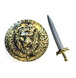 Gladitor Shield & Sword Adult Roman Weapon Costume Accesories Gold