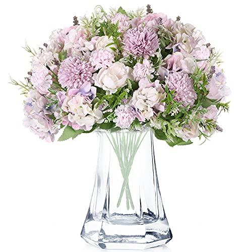 3 Racimos de Flores de Peonía Artificiales Crisantemo de Plástico Flor Realista Falsas Ramo de Decoración Floral de Boda Hortensias Decoración de Ramo de Hortensias de Seda (Púrpura)