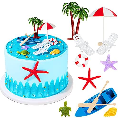 12 Decoraciones para Tarta de Playa Hawaiana Adorno de Tarta de Silla y Sombrilla de Playa de Verano Decoración de Tarta de Palmera Verde para Fiesta de Cumpleaños Bodas con Tema Hawaiano