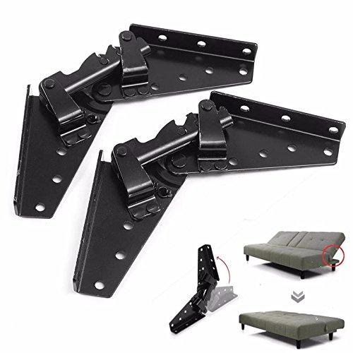 TOOGOO Negro de acero del metal Sofa cama Ropa de cama Muebles ajustable de 3 posiciones de angulo mecanismo de bisagra Hardware