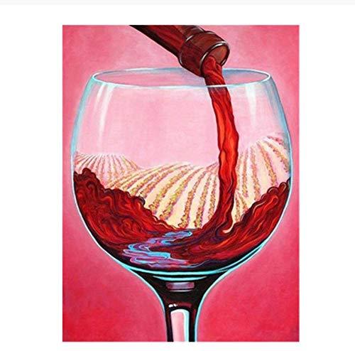 qazwer Pintura De Diamantes 5D DIY Kit Vierta La Imagen del Vino Bordado De Punto De Cruz Taladro Cuadrado Completo Mosaico Decoración del Hogar Regalo 40X50 cm