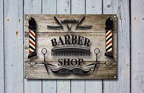 Fhdang Decor Barber Shop Sign, Plaque en métal, Barbier signalisation, Style Moderne, Barber Shop Sign, Barber Sign, Signes de barbier, 20,3 x 30,5 cm
