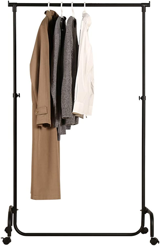 JIAYING Coat Racks Coat Rack Floor Single Rod Hanger Metal Coat Rack Bedroom Mobile Hanger Simple Modern Clothes Rack Multifunction