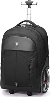 Rolling Travel Backpack Large Wheeled Rucksack Laptop Trolley Black Carry Luggage (20 Inches)