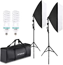 Andoer 1350W Photography Lighting Kit Professional Studio Softbox Continuous Lighting Kit 5500K with 200cm Light Stand 50x70cm Softbox and Carrying Bag for Studio Photography