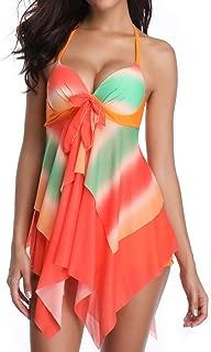 SSYUNO Women Sporty Boyleg Strinp Swimdress Plus Size Halter One Piece Swimsuit Long Torso Skirted Bra Bathing Suit