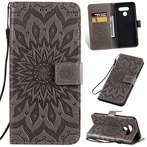 KKEIKO Hülle für LG Q60, PU Leder Brieftasche Schutzhülle Klapphülle, Sun Blumen Design Stoßfest Handyhülle für LG Q60 - Grau