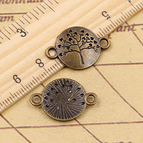 WANM 30Pcs Charms Peace Tree Connector 23X16Mm Tibetan Bronze Silver Color Pendants Making Findings Handmade Antique Diy Jewelry