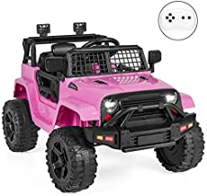 Best Choice Products 12V Kids Ride On Truck Car w/Parent Remote Control, Spring Suspension, LED Lights - Pink