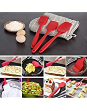 3 Piece Large Size Premium Silicone Baking Heat-Resistant Spatulas Utensils Set – Spatula,Spoon, Scraper / Baking Utensil Tool Set Ideal for Mixing, Baking & Cooking / Non-Stick Silicone Kitchen Utensils (Red )