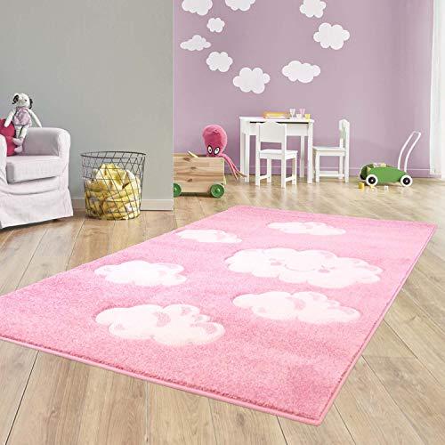 Taracarpet Kinder Teppich für das Kinderzimmer Bueno Hochwertig mit Konturenschnitt Rosa verträumte Wolken 120x170 cm