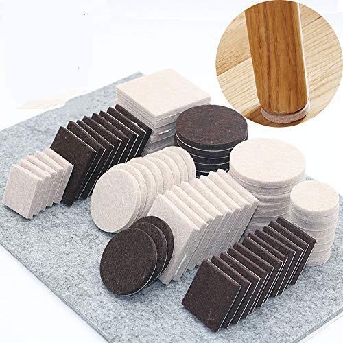 Möbelpolster, rutschfeste Filzmatte Verschleißfeste Sofamöbel Beinpolster Bodenschutz(Square 27 x 27MM 18Pcs,brown)
