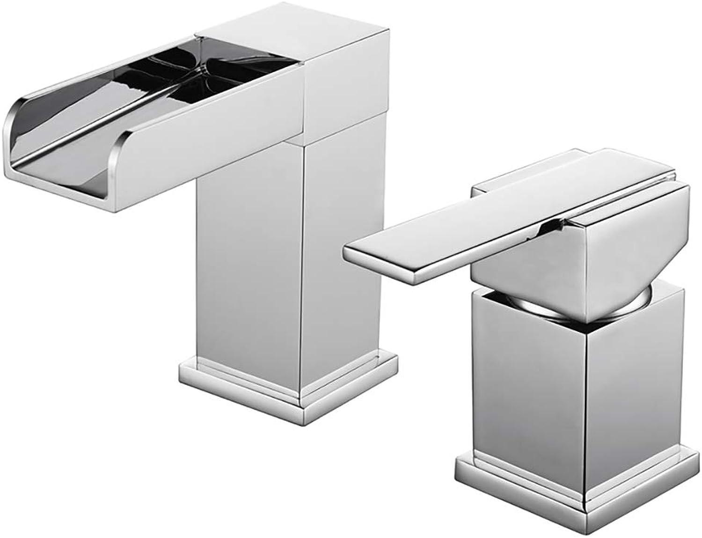 Modernes Chrom-Bad Wasserfall Faucet Desktop-Beckenwasser Hahn Zwei-Stück-Bad Wasserhahn