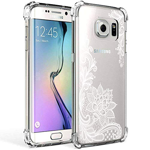 Galaxy S7 Edge Case Clear with Lace Design Shockproof Protective Case for Samsung Galaxy S7 Edge 5.5 Inch Cute Henna Flowers Pattern Flexible Slim Rubber White Floral Cell Phone Cover for Girls Women