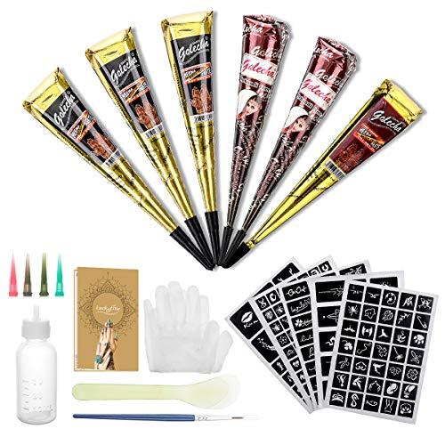 Natürliche Tattoo Set, Luckyfine Wasserdicht Temporäre Tätowierung Kit, 6 Stück 3 Farbe Tattoo Bag mit 165X Tattoo Sticker Schablonen, Party Tattoo für Kinder & Erwachsene