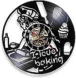 ZZLLL Me Encanta Hornear Reloj de Pared Cocina Moderna Vinilo Cocina Colgante de Pared Rango Reloj de Pared Chica con Rollo Pastel Postre Mural Chef Regalo