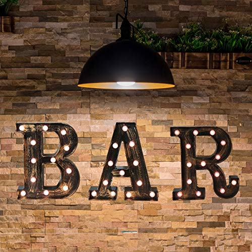 Vintage Bar Sign With Lights Light Up Bar Letter Lights Lighted Illuminated Bar Marquee Letters Lights Retro Bar Cart Accessories and Decor for Home Pub Coffee Birthday Party Christmas Wedding Events