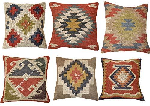 Handicraft Bazarr- Almohada india de 18 pulgadas tejida a mano para interiores y exteriores, 6 unidades, de lana, de yute, estilo hippie, rústico, para sofá, de yute, cojín bohemio, para decoración del hogar