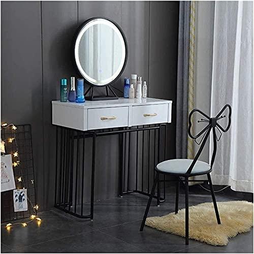 CHLDDHC 2 en 1 maquillaje vanidad escritorio blanco maquillaje mesa tocador con espejo vanidad con taburete acolchado Villa gabinete de maquillaje de gama alta