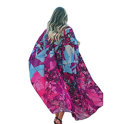 Lazzon Donna Copricostume Mare Chiffon Boemia Cardigan da Spiaggia Sexy Lungo Kimono Vestito da Spiaggia