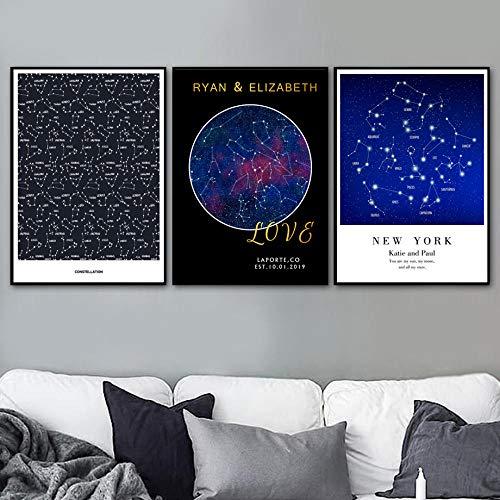 Sterrenbeeld sterrenkaart citaat liefde wandkunst canvas schilderij Nordic poster en afdrukken muurschildering voor woonkamer Home 50x70 cm Geen lijst x3