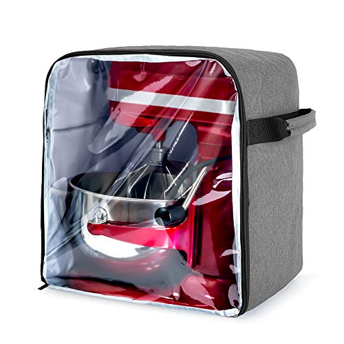 Luxja Dust Cover for 6-8 Quart KitchenAid Mixers (with a Bottom Padding Pad), Dust Cover (Clear Front Panel) for Stand Mixers and Extra Accessories, Gray (Patent Pending)