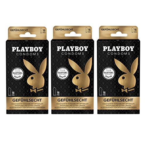 Playboy Condoms Kondome Gefühlsecht, Verhütungsmittel, Intensiv, mit Gleitgel gratis, 56 mm, 3 x 16 Stück