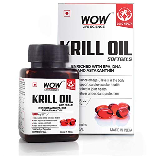WOW Life Science Krill Oil Softgels - Enriched with EPA, DHA & Astaxanthin - 500mg Krill Oil - 30 Softgel Capsules