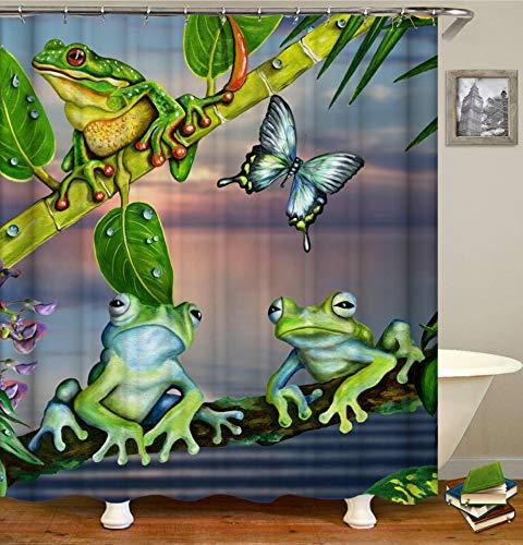 JgZATOA Tier Frosch Drucken Duschvorhang Schmetterling Bad Vorhang Badewanne Trennvorhang Polyester Bad Nach Hause Hotel Vorhang 180X200Cm