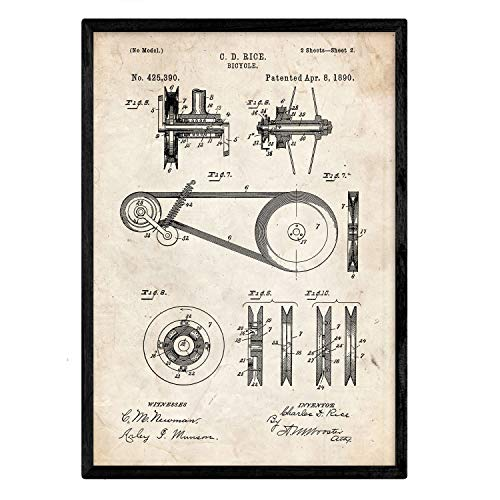 Nacnic Biciclette Poster Design di Brevetto 3. Foil con Il Vecchio Brevetto in Formato A3 e Vintage Sfondo