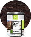 Barniz Madera Exterior | Bio-based Wood Stain | 1 L | Barniz ecológico para todo tipo de madera | Lasur madera exterior | color Dark Teka | Flexible y transpirable, resistente al agua y al moho