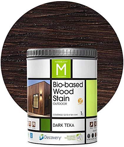 Barniz Madera Exterior | Color Dark Teka | 1 Litro | Barniz ecológico para todo tipo de Madera | Lasur Madera Exterior | Flexible y transpirable, resistente al agua y al moho