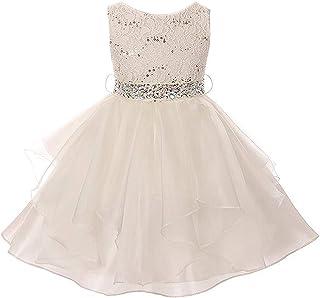 2ecd01d7cd0 Lace Bodice Asymmetric Ruffles Tulle Skirt Rhinestones Flower Girl Dress