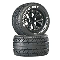 Ideal tread pattern for high traction, on-road conditions on asphalt, concrete, hard and smooth surfaces 2.8 MT tires with foam inserts Pre-mounted on Black 6-spoke plastic Rims Tire outer diameter: 4.6 inch; tire width: 2.6 inch; wheel diameter: 2.8...