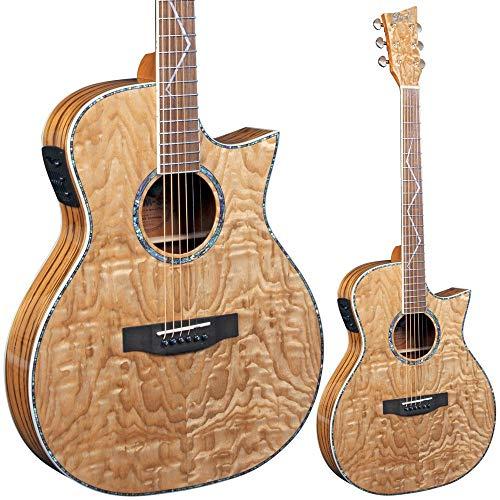 Lindo Gitarren LDG-SL-55D Slim Elektro-Akustische Gitarre mit Vorverstärker, digitalem Tuner, XLR-Ausgang/Klinkenbuchse und Gitarrentasche