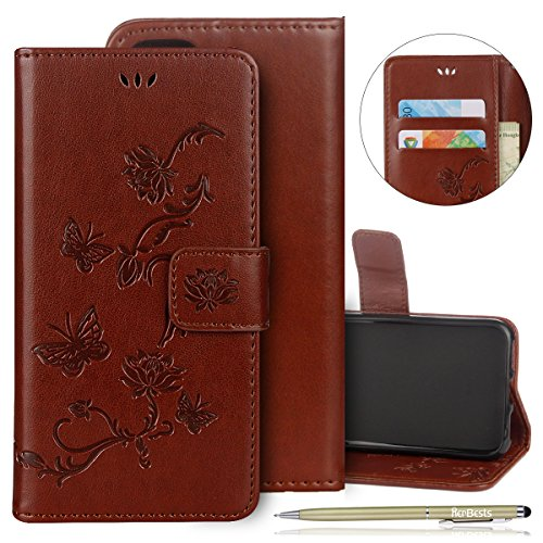 Learn More About Herbests Compatible with iPhone 7 / iPhone 8 4.7 Wallet Case Embossed Lotus Flower ...