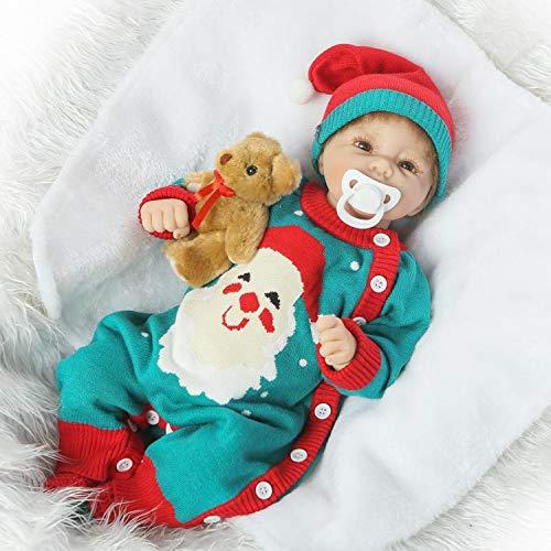 Terabithia 20 Pulgadas Rare Realista 3/4 Silicona Cuerpo de Vinilo Cuerpo de Tela rellena Reborn Baby Girl Dolls Traje de Navidad Muñeca recién Nacida