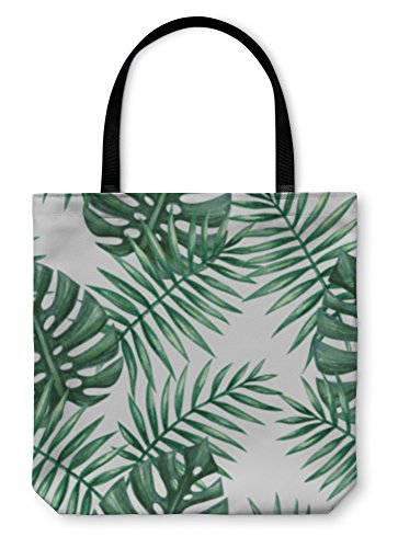 Gear New Shoulder Tote Hand Bag Watercolor Tropical Palm Leaves Pattern Illustration 13x13 6073411GN