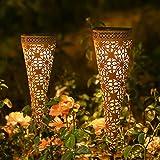 Metall Solarleuchten Garten, 2 Stück Görvitor Solarlampen für Außen Garten Deko, LED Gartenleuchten Solar Warmweiß IP65 Wasserdicht für Balkon Blumenkästen Rasen Weg (Rostoptik)