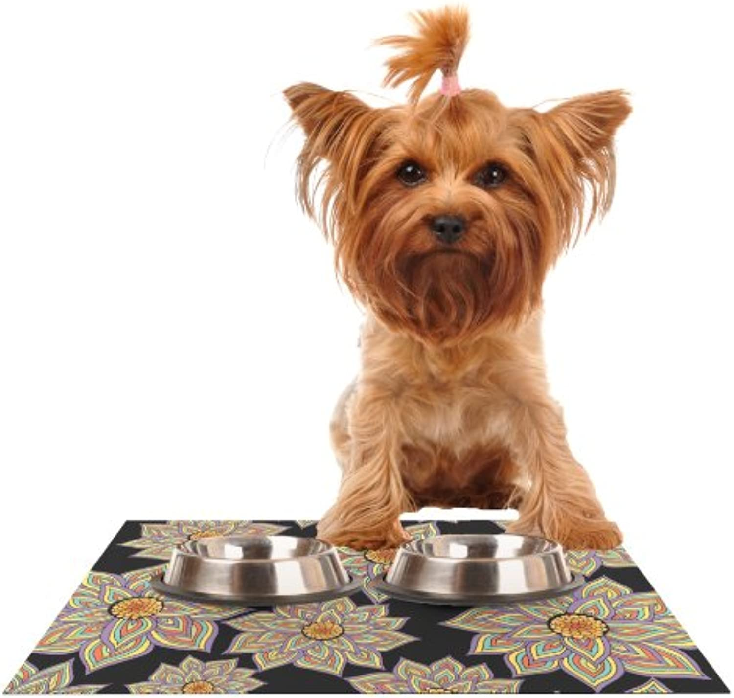 Kess InHouse Pom Graphic Design Floral Dance in The Dark  Feeding Mat for Pet Bowl, 18 by 13Inch