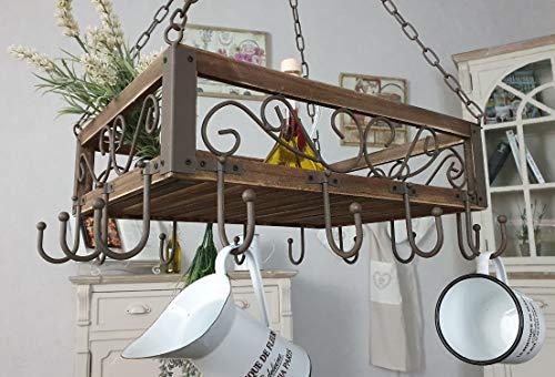 Ambiente Haus Topfhänger 83043 Pfannenhänger 40 cm Deckenregal Hängeregal Hänger Wurstkrone, Schmiedeeisen und Holz, Braun, 16x50x40cm