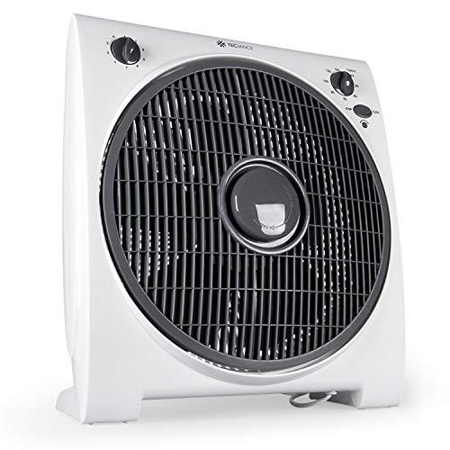 Tecvance, Weiß Box Fan Ventilator (32 cm) -Raumventilator mit 4 Stufen und Timer, Kleiner, leiser & leistungsstarker Zimmerventilator, Windmaschine (50w) für jeden Raum, kompakter Kastenventilator