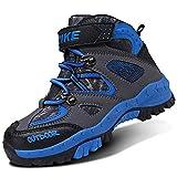 VITIKE Chaussures en Coton pour Enfants Bottes de Neige d'hiver Chaussures de randonnée Garçon Walking Trekking léger Outdoor Sporty Shoes Bottes d'escalade, Noir, 31 EU