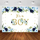 Avezano Navy Blue Baby Shower Backdrop for Boy's Baby Shower Party Decorations Photography Background Navy Blue Floral It's A Boy Baby Shower Party Photoshoot Backdrops (7x5ft)