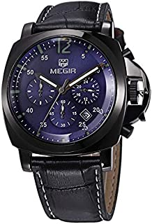 Megir Watch for Men, Leather Band, Chronograph, M-3006-12