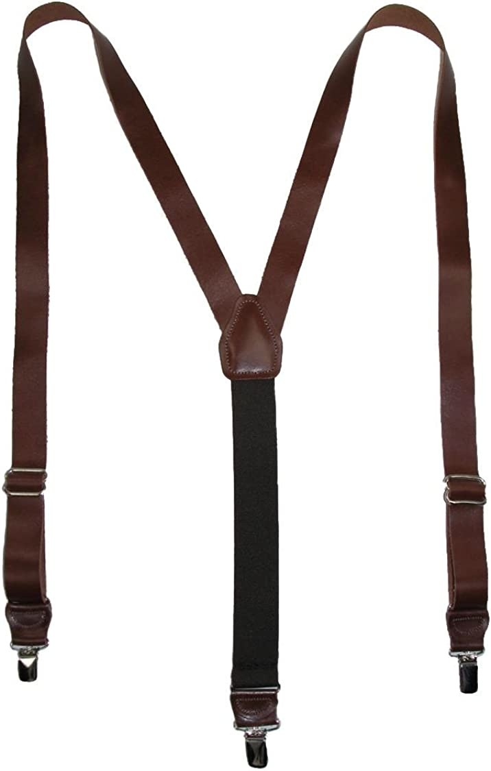 CTM Men's Coated Leather Clip-End 1 Inch Suspenders
