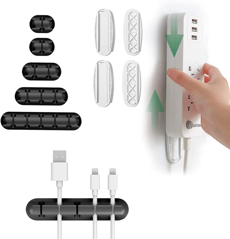 5 Packs Cable Clips X 2 Pack Self Adhesive Power Strip Holder, Cable Management Cord Organizer for Organizing USB Cable/Power Cord/Wire, Desktop Socket Hanging Wall Mount Fixator for Home Office